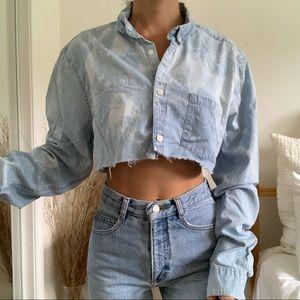 Bleached Collard Denim Cropped Long Sleeve Shirt